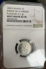 Mint Error Canadian Penny Struck On Foreign Planchet NGC AU58