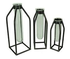 Modern Art Glass Tube Bud Vase with Metal Cage Frame Set of 3