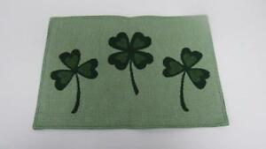 St Patrick's Day Placemat Tapestry Green with Three Shamrocks Clovers NEW