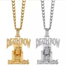 Iced Out Sterling Silver DEATHROW/RECORDS Prisoner Pendant Hip Hop Jewelry