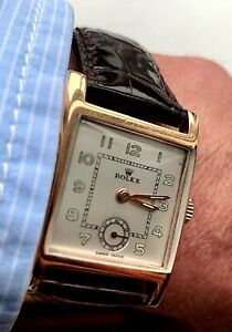 ROLEX 9CT GOLD SQUARE GENTS WRISTWATCH 1940s VINTAGE WITH ROSEWOOD BOX
