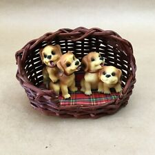 Vintage Collectible Dog Figurines In Wicker Carriage Basket Animal Figures