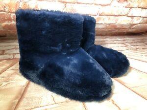 BNWT Ladies Sz 9 Anko Brand Navy Soft Fluffy Short Style Slipper Boots