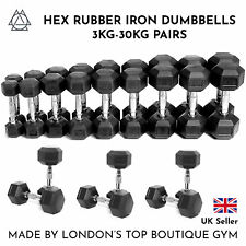 HEX DUMBBELLS 3kg - 30kg PAIR Cast Iron Rubber Encased Weights Set