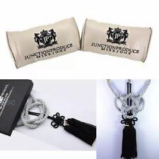JUNCTION PRODUCE VIP Car Neck Pillow Headrest Beige+SB Charm Kin Tsuna Rope Set
