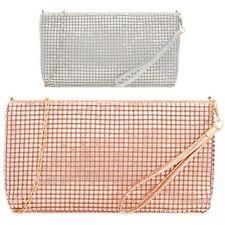 Ladies Chain Mail Metallic Clutch Bag Wrist Strap Evening Purse Handbag KH2225