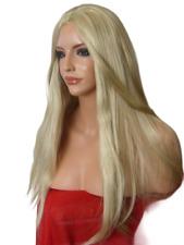 Ladies Ash Blonde long poker straight Women Fashion Costume Natural Wig O22
