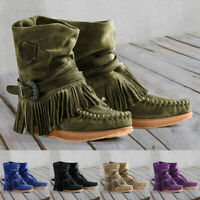 Ladies Women's Casual Round Toe Rome Retro Fringe Short Ankle Boots Flat Shoes