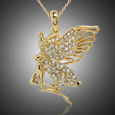 Gold Austrian Crystal Angel Fairy Pendant Sweater Chain Necklace GRO