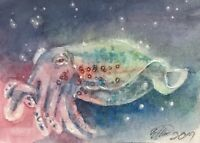 ACEO Original Squid painting Cuttlefish Ocean miniatures art direct from artist