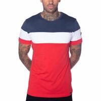 ELLESSE TIMAVO SHC07385 Mens T-Shirt Crew Neck Short Sleeve Multi Red Summer Tee