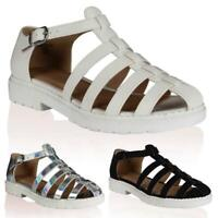 NEW WOMENS STRAPPY LADIES CUT OUT SUMMER GLADIATOR GEEK SANDALS SHOES