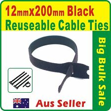 100 x Black Reuseable Magic Cable Ties 12 x 200mm Magic Wrap Strap