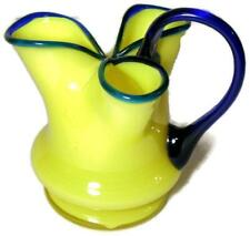Antique Tango Art Glass Tri-Lobed Pitcher Yellow with Cobalt Czechoslovakia