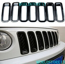 Black ABS Car Front Grill Grille Insert Trim Frame For 2011-2017 Jeep Patriot