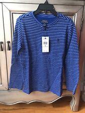 NWT Ralph Lauren Polo Boys Long Sleeve Blue Str Waffle Knit-Shirt Top 5(Y) $35