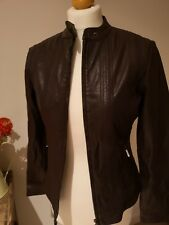 Buttersoft MONSOON Chocolate Brown Leather Biker Jacket. Size 10