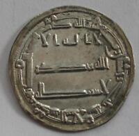 754-775 ABBASID CALIPHATE SILVER  DIRHAM   AL-MANSUR  AU++  SUPERB #1