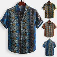 Men's Cotton Printed Hawaiian Breathable Casual  Short Sleeve Loose  Shirts L-5X
