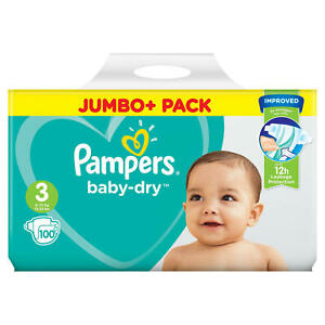 PAMPERS BABY DRY NAPPIES JUMBO+ (ALL SIZES)