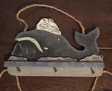 Wooden Whale Wall Hanging Distressed Deco Handmade New