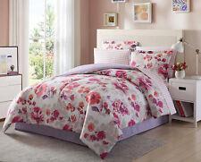 Light Dark Purple Pink White Floral 8 Piece Comforter Bedding set Full Size NEW