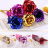 New 24k gold rose flower long stem golden dipped flower valentine's day lovers