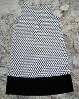 NWOT J.Jill Small Ivory And Black Sleeveless Stretch Tunic Dress
