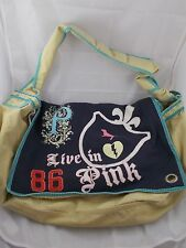 Victoria's Secret Canvas Cotton Messenger Flap Bag Pink Forever Extra Large