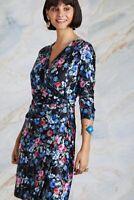 Black Midnight Daisy Print Wrap Dress