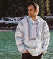 Drug Rug Baja Hoodie Surfer Mexican Sweatshirt Poncho Tlaloc Unisex White Blue