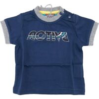 T-Shirt in Cotone Blu con Stampa Neonato Sarabanda E815