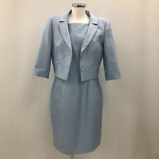 Hobbs Dress Suit UK 14 Women Light Blue Silk Wool Formal Special Occasion 282396