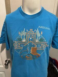 Vintage Arizona Cactus Mens Blue Single Stitch T Shirt Extra Large XL