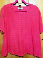 Sag Harbor Women's Plus Size 2X Pink Short Sleeve Blouse Top