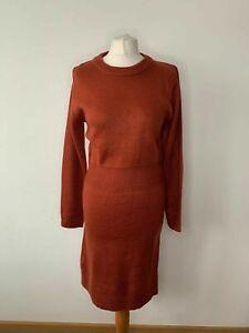 SHEIN Solid Midi Knit Pencil Sweater Dress Rust Brown Size S 8 / 10