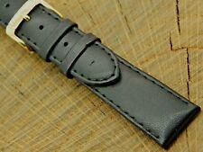 Vintage Speidel Black Leather w Gold Tone Buckle Watch Band 19mm NOS Unused