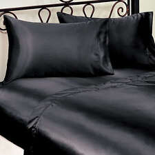 LUXURY SEXY SATIN PLAIN BLACK SUPER KING SIZE BED FITTED SHEET FULLY ELASTICATED