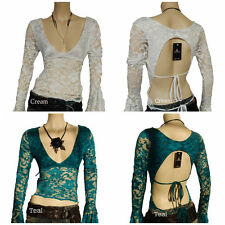 Waist Length Lace Patternless Tops & Shirts for Women