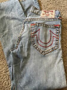 Men's TRUE RELIGION STRAIGHT Blue Jeans Distressed Red Stitch 33/33