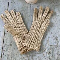Antique French work gardening crochet linen gloves woman's