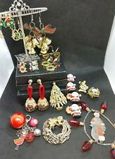 Vintage Christmas Jewelry Lot~Signed ART Brooch~Christmas Earrings~Button Covers