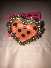 Betsy Johnson Pink Lucite Heart Ring Leopard Print Cocktail Size 7