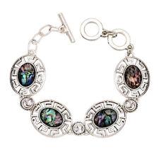 retro square abalone shell rhinestone bracelet