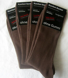 4 Pair Men Socks without Rubber 1/1 Ribbed 100% Cotton Medium-Brown XXL 47 - 50
