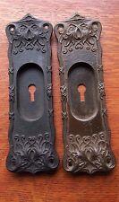 Two Antique Victorian Fancy Iron Pocket Door Pulls Pull Plates c1885 Acanthus