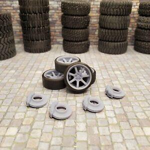 """1/24 Scale 3D Printed 19"""" Work Emotion Wheels, Tires, & Brakes"""