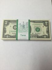 100 New Uncirculated 2 Dollar Bills BEP Pack Series 2003 A Atlanta Consecutive