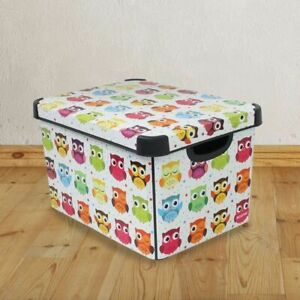 Curver Owls 22 Litre Plastic Storage Box Stackable Toy Kids Book Craft Clothes