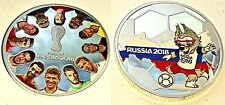 World Cup Russia 2018 Silver Coin Players Logo Map Zabivaka Ronaldo Brazil Retro